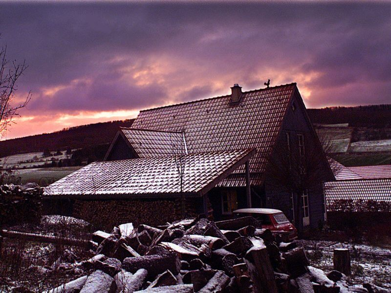 pg-lange - Neubau Holzrahmenbau Foto Winter, Schnee und Sturm
