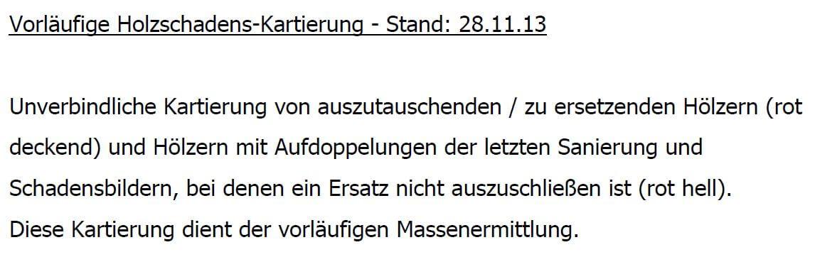 pg-lange - Marktstraße 88 Bestand Kartierung Legende Holzschäden Gutachter V. Grünewald