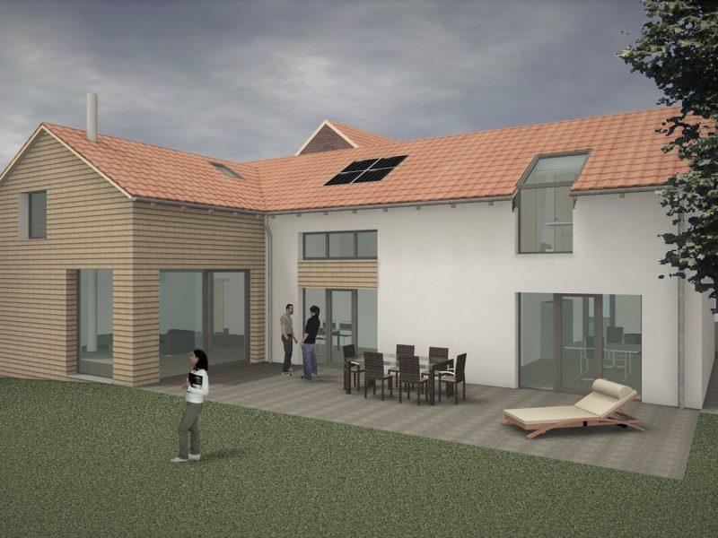 pg lange Einfamilienhaus Visualisierung Gartenansicht